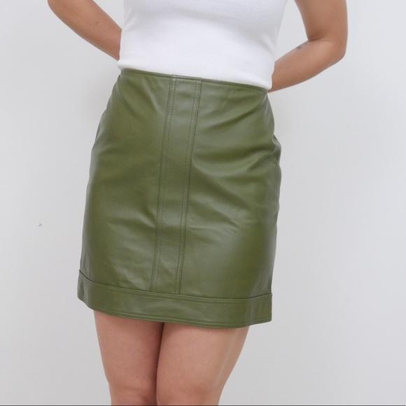 Vintage Dresses & Skirts - 🆕 Vintage Genuine Leather Olive Green Mini Skirt